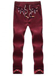Geometric Embroidered Floral Hemming Corduroy Pants