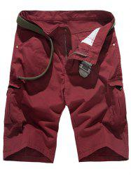Zipper Fly multi-poches Shorts Conception Cargo - Rouge vineux  30