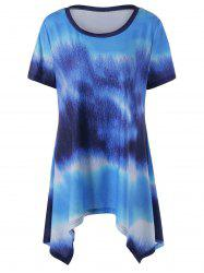 Plus Size Asymmetric Tie Dye T-Shirt