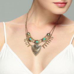 Artificial Turquoise Engraved Flower Necklace