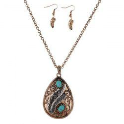 Artificial Turquoise Feather Teardrop Jewelry Set