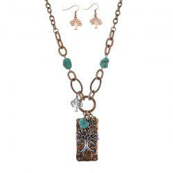 Artificial Turquoise Life Tree Leaf Jewelry Set
