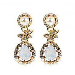 Faux Pearl Rhinestone Teardrop Earrings
