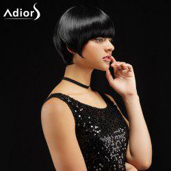 Adiors Short Silky Straight Haircut Neat Bang Synthetic Wig