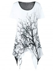 Tree Print Asymmetrical Longline T-Shirt