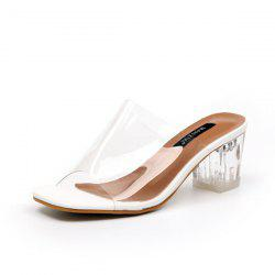 Transparent Plastic Chunky Heel Slippers - WHITE