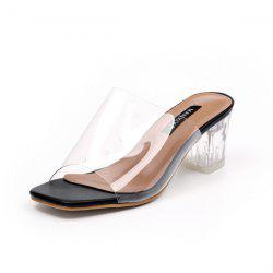 Transparent Plastic Chunky Heel Slippers - BLACK