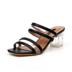 Transparent Plastic Clear Heel Slippers - BLACK