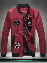 Stand Collar Embroidered Appliques Zip Up Jacket -