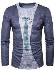 Suit Print Long Sleeve Novelty T-Shirts
