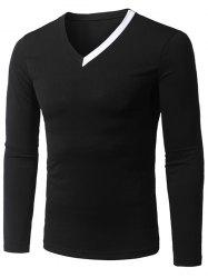 V Neck Long Sleeve Contrast Panel Tee