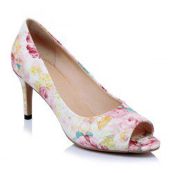 Floral Print PU Leather Peep Toe Shoes