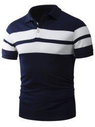 Turndown Collar Broad Stripe Polo T-Shirt