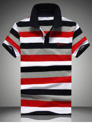 Color Block Striped Embroidered Polo Shirt
