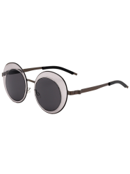 Metallic Sunglasses with Round Insert Oval Lens