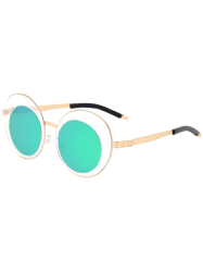 Round Panel Oval Lens Mirrored Metallic Sunglasses