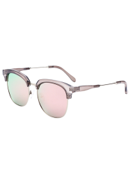 Metallic Insert Club Mirrored Sunglasses - PINK