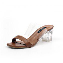 Faux Leather Clear Heel Slippers