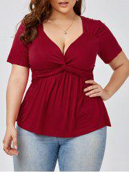 Plus Size Knot Front Top
