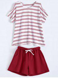 Active Plus Size Stripe T-Shirt With Shorts