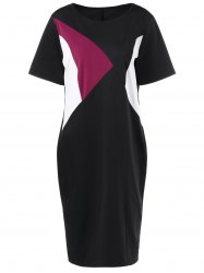Plus Size Color Block Pencil Dress