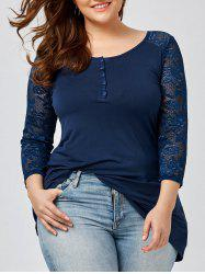 Lace Sleeve Plus Size Henley T-Shirt