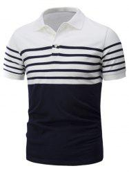 Striped Trim Short Sleeve Cotton Polo T-Shirt