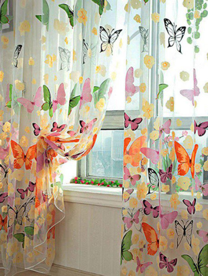 Chic Butterfly Print Voile Curtain For Balcony Bedroom