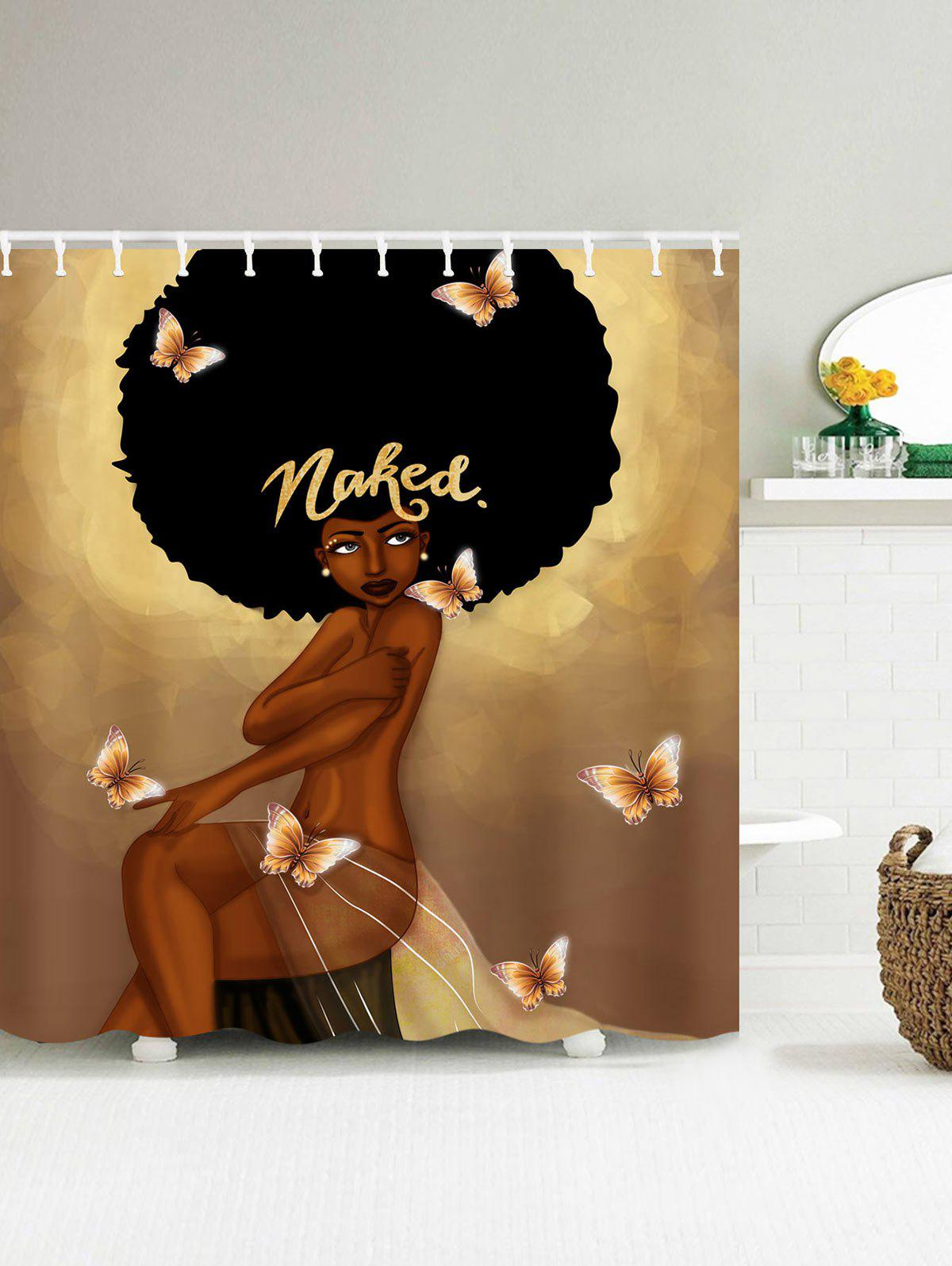 2019 Fashion Hair Girl Have A Bath Shower Curtain