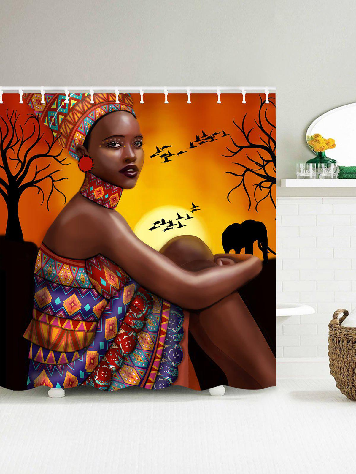 Mould Proof Shower Curtain with African Tribal Girl PrintHOME<br><br>Size: 180*200CM; Color: COLORMIX; Products Type: Shower Curtains; Materials: Polyester; Pattern: Figure; Style: Retro/Vintage; Number of Hook Holes: 150CM Width: 10; 180CM Width: 12.; Package Contents: 1 x Shower Curtain 1 x Hooks(Set);