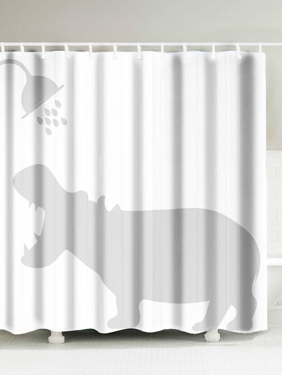 Chic Hippo Shadow Anti Bacteria Fabric Shower Curtain