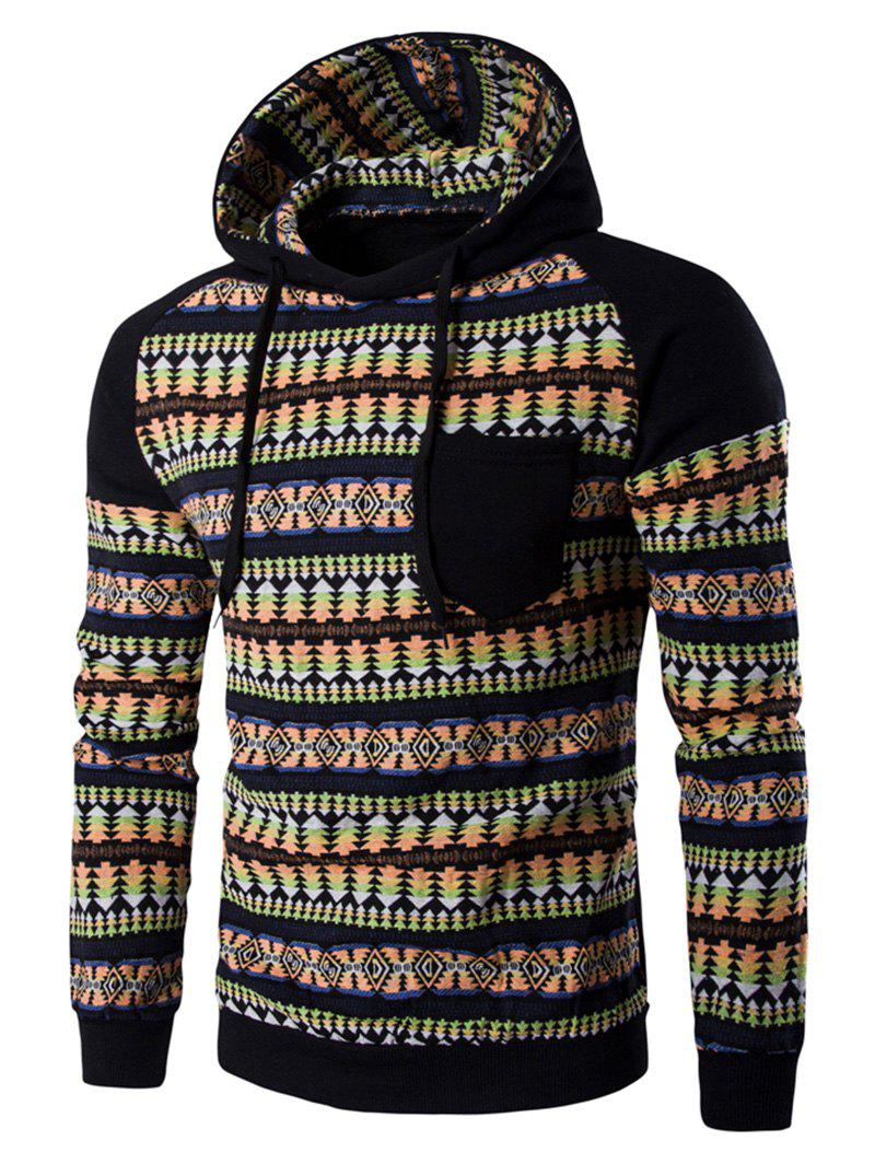 Pocket Design Tribal Print Hoodie - Black M