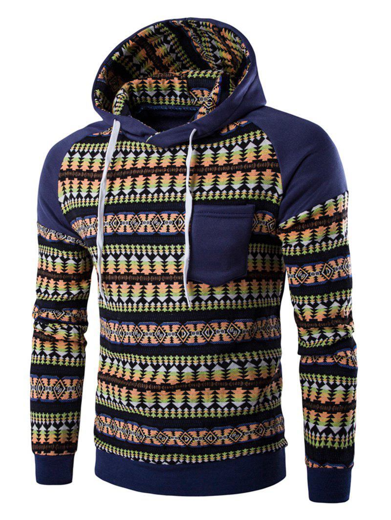 Pocket Design Tribal Print Hoodie - Denim Blue M