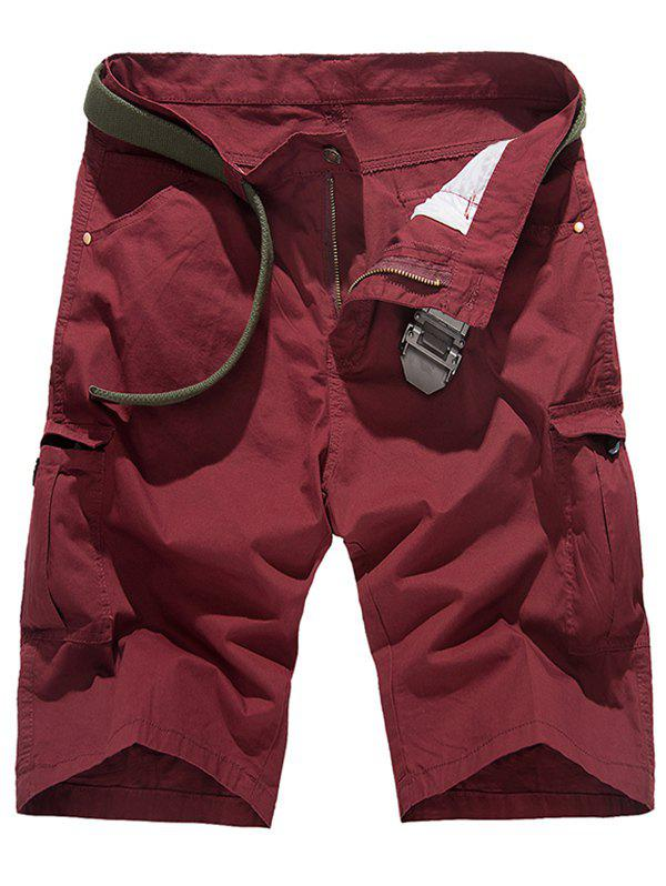 Zipper Fly multi-poches Shorts Conception Cargo Rouge vineux  30