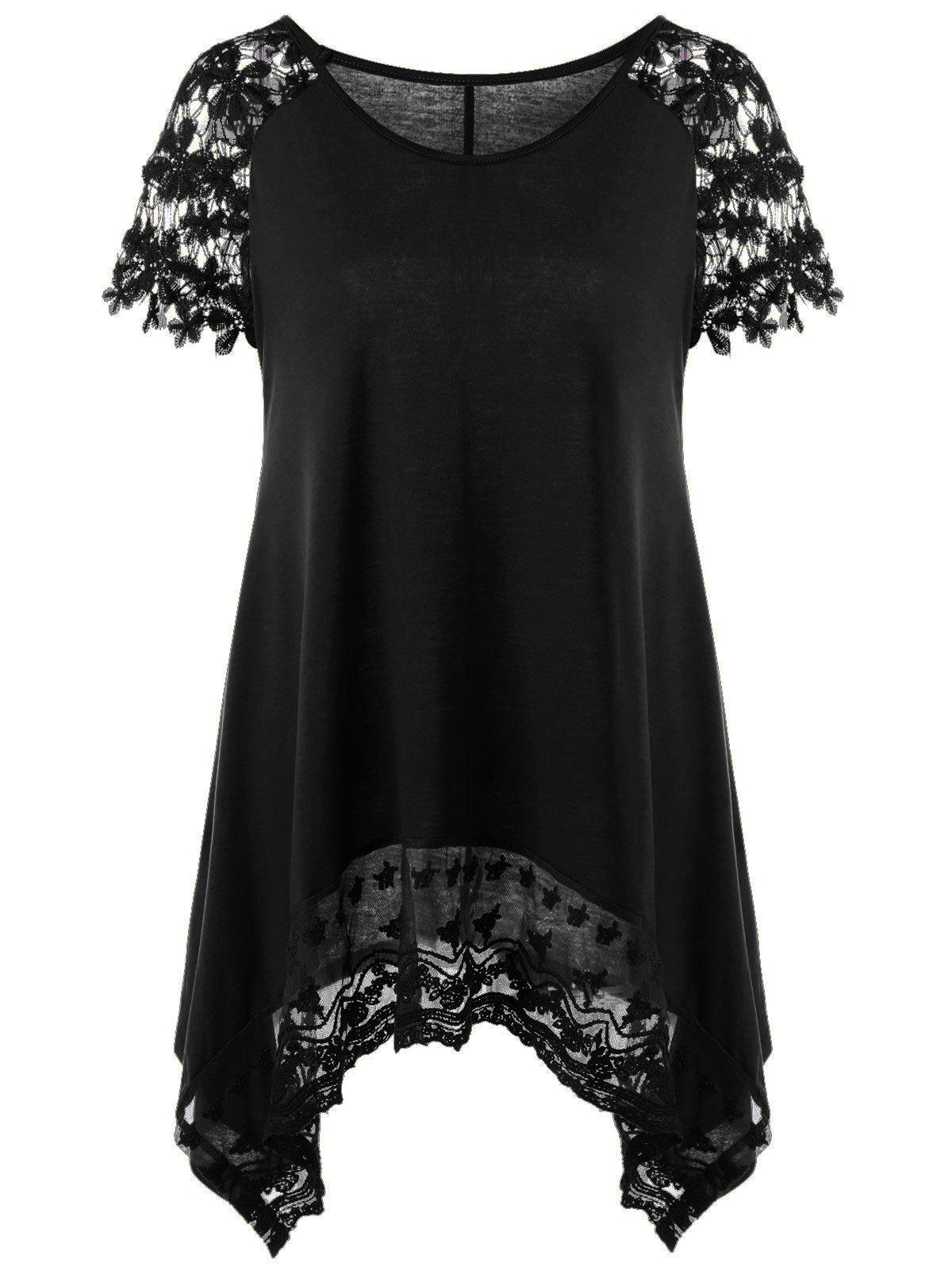 Plus Size Lace Trim Cutwork Asymmetrical Long T-ShirtWOMEN<br><br>Size: 4XL; Color: BLACK; Material: Polyester,Spandex; Shirt Length: Long; Sleeve Length: Short; Collar: Round Neck; Style: Casual; Season: Summer; Pattern Type: Floral; Weight: 0.3400kg; Package Contents: 1 x T-Shirt;
