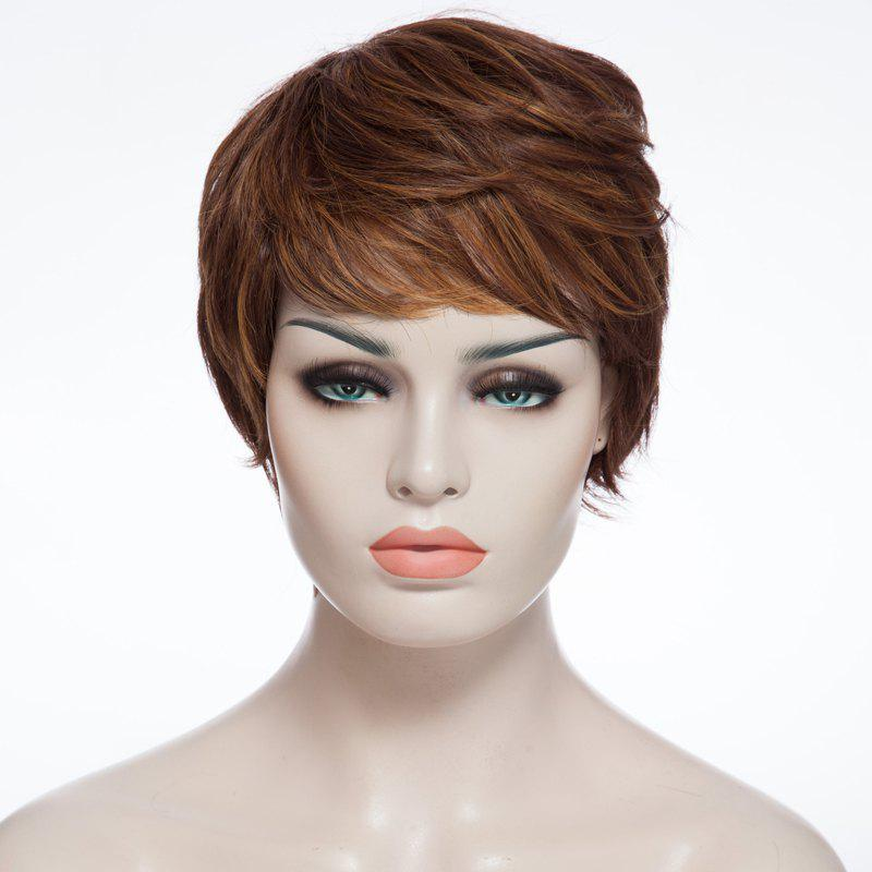 Affordable Fashion Fluffy Side Bang Brown Mixed Elegant Short Curly Synthetic Capless Wig For Women