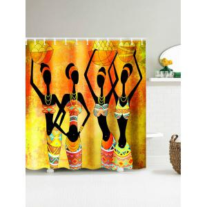 African Tribal Girl Harvest Celebration Shower Curtain - Yellow - 180*200cm