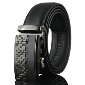 Alloy Checked Emboss Buckle Faux Leather Belt