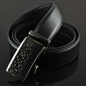 Alloy Checked Emboss Buckle Faux Leather Belt - BLACK