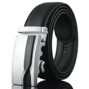 Geometric Polishing Automatic Buckle Wide Belt - Silver