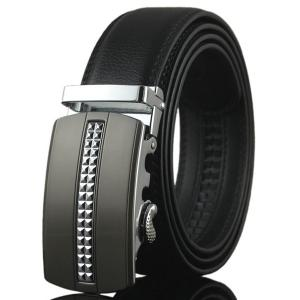 Tiny Plaid Automatic Buckle Artificial Leather Belt - Silver