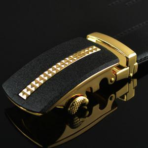 Tiny Plaid Automatic Buckle Artificial Leather Belt - GOLDEN