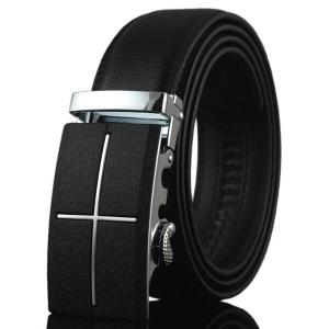 Metal Cross Automatic Buckle Faux Leather Belt - Black