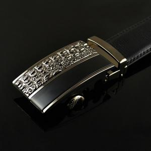 Carved Spliced Alloy Automatic Buckle Belt - BLACK