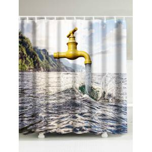 Water Faucet Flowing Printed Shower Curtain - Blue Gray - W71 Inch * L71 Inch