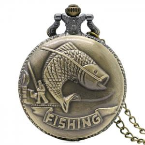 Fishing Carving Vintage Quartz Pocket Watch