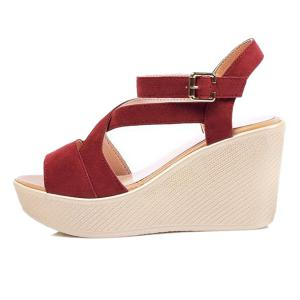 Cross Strap Suede Sandals - RED 37