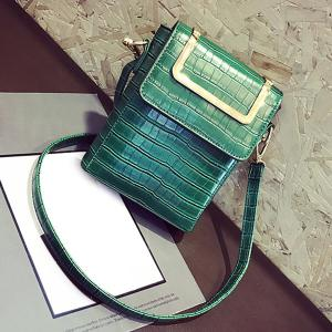 Metal Handle Crocodile Pattern Crossbody Bag