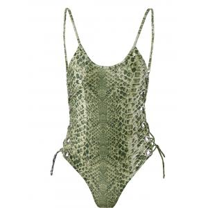 Lace Up One-Piece Padded Bra Swimwear - Clover - S