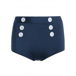 Buttoned Vintage Cheeky High Waisted Bikini Bottom Shorts - Deep Blue - Xl